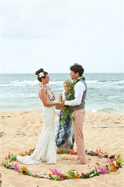 Hawaiian wedding ceremony complete with leis exchange