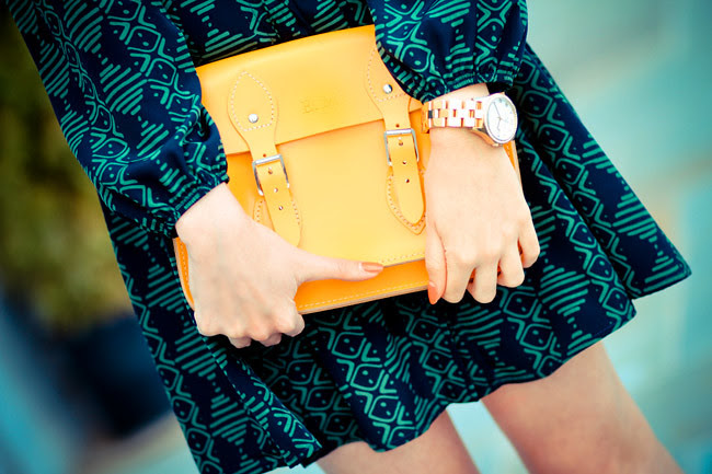 Marc Jacobs Gold watch, Cambridge Leather Satchel bag, Patent Penny Loafers, Ray Ban Wayfarer Sunglasses, Fashion Outfit