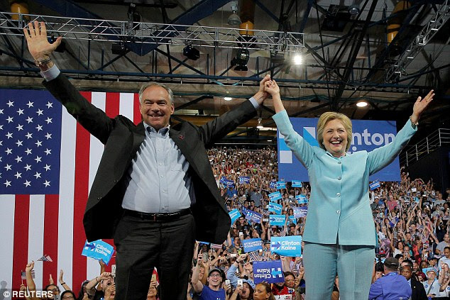 Kaine worked his way up in government to Virginia governor, and later senator, a position he continues to hold at this time. Pictured today with Clinton at the Miami rally
