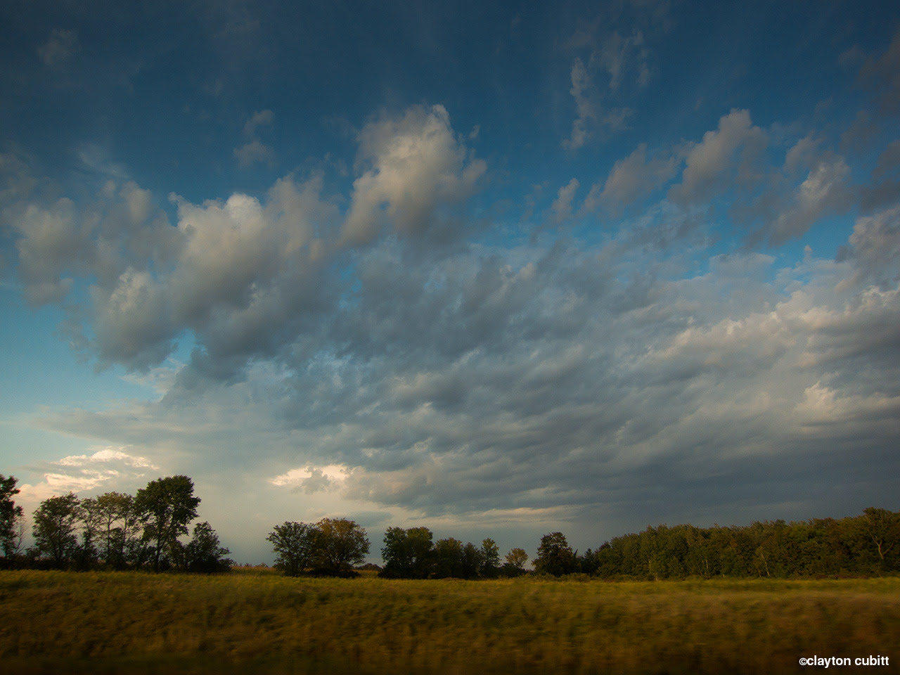 Clouds over farmland and trees, northern Minnesota   (2706)