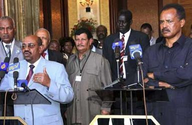 Presidents of Sudan and Eritrea: left, Omar Hassan al-Bashir and Isasias Afwerki. The two countries have signed bi-lateral agreements. by Pan-African News Wire File Photos