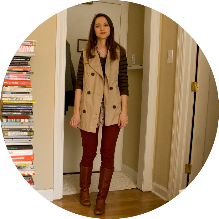 february outfit, dash dot dotty, outfit blog, ootd, winter layers, stripes, florals, trench, rust jeans