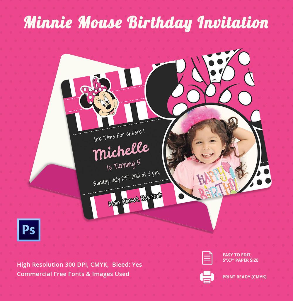 Minnie Mouse Birthday Invitation Template – 12+ Free PSD, AI ...
