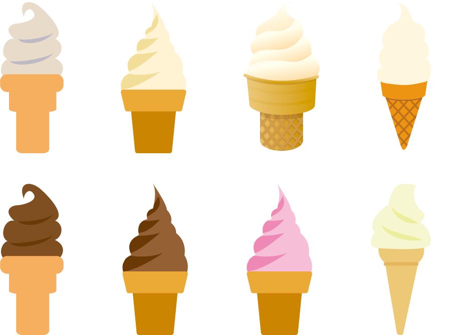 フリーイラスト 8種類のソフトクリームのセットでアハ体験 Gahag