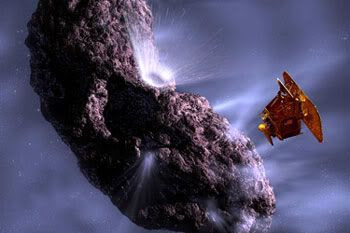 An artwork depicting the DEEP IMPACT spacecraft observing the crater formed after the Impactor's collision with Comet Tempel 1.