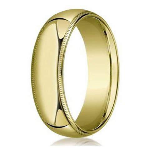 Men's 18K gold domed wedding ring, milgrain edges   6mm width