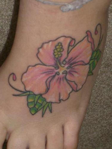 Hibiscus Flower On Foot