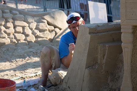 Revere Beach sand sculptures artist at work