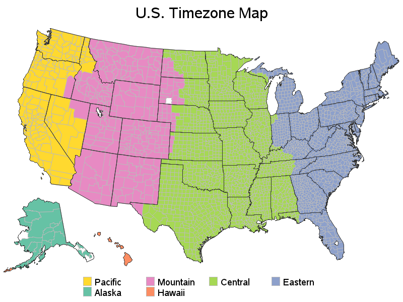 Us Timezone Map Pdf