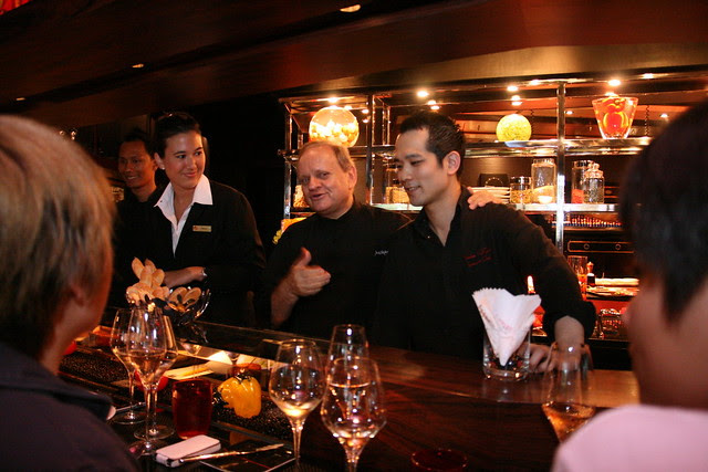 Joël Robuchon introducing the Japanese guy who helped him start Atelier in Tokyo