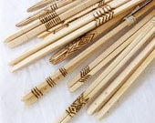 Set of six handmade wood chopsticks with woodburning and/or copper riveting - wedding / host / gift / housewarming present - BlisscraftandBrazen
