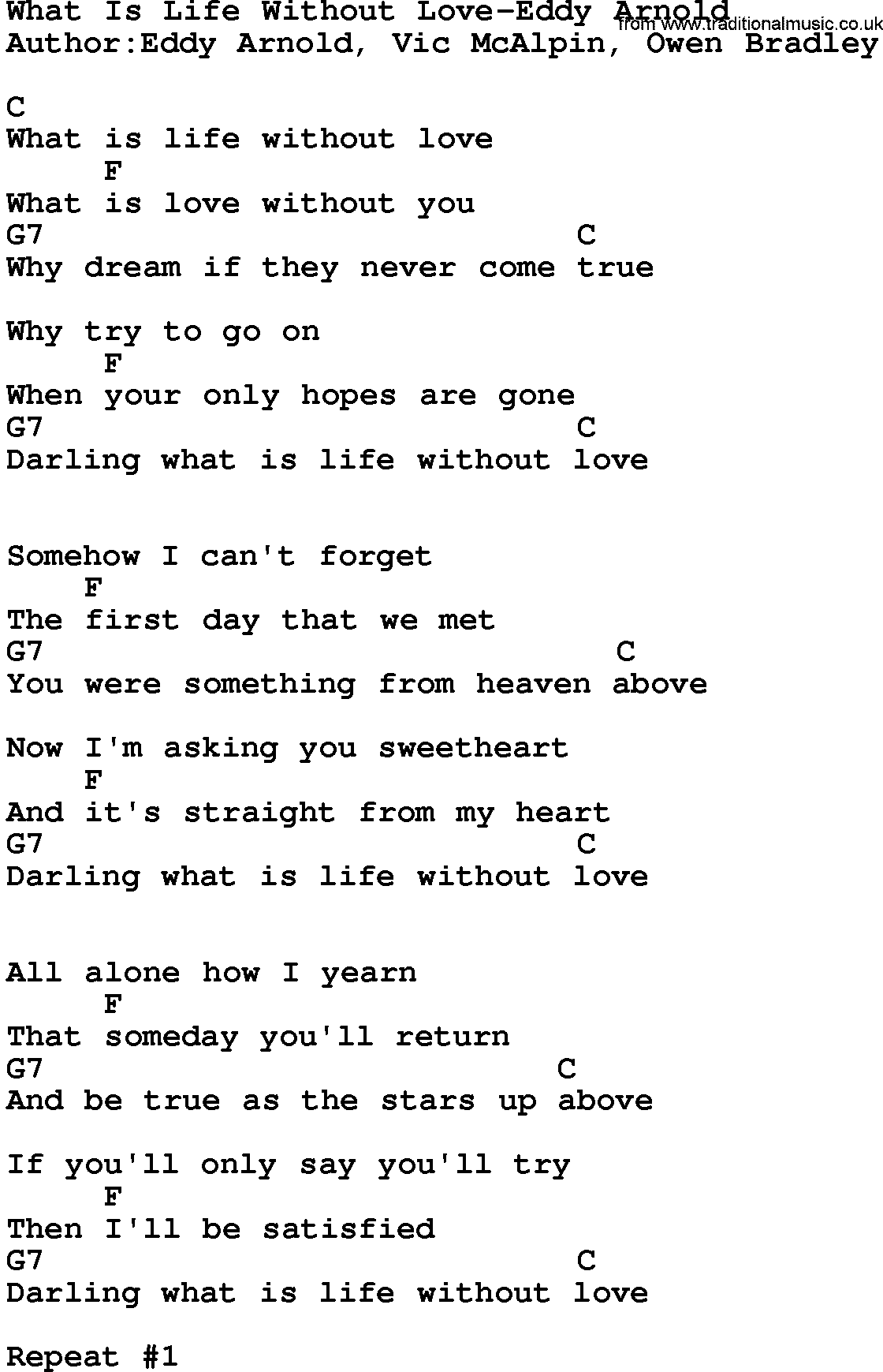 Country Musicwhat Is Life Without Love Eddy Arnold Lyrics And Chords