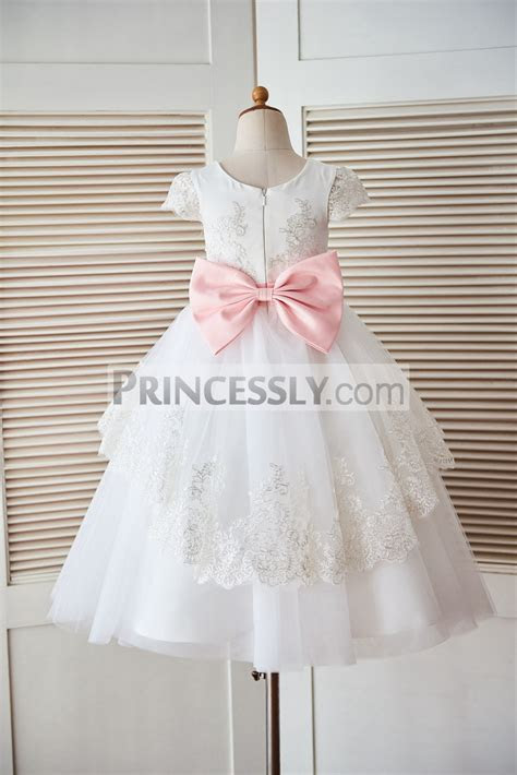 Cap Sleeves Lace Tulle Satin Cupcake Flower Girl Dress