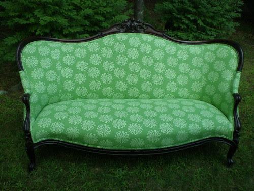 """sofa redo with """"flower power"""""""