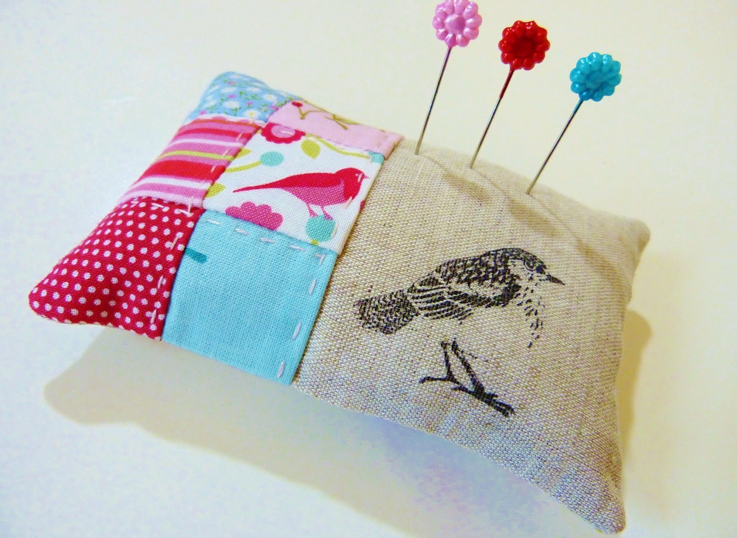 Pin cushion  in red, pink and aqua patchwork with linen in a bird theme Perfect mother's day, Easter or hostess gift
