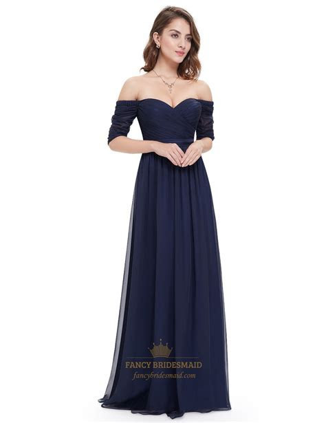 Navy Blue Off The Shoulder Ruched Evening Gowns Long With