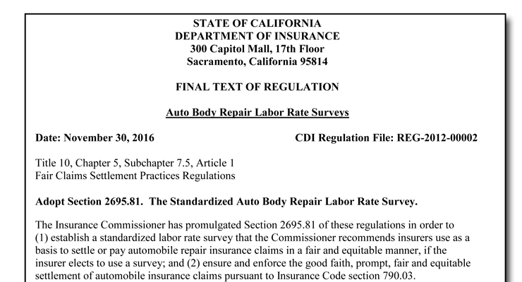 California Insurance Department Publishes Final Auto Body ...