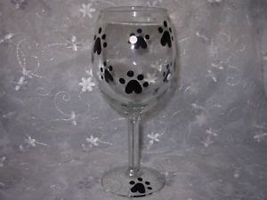 Dog Or Cat Paw Print Hand Painted Wine Glass