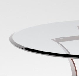30 Inch Round 38 Inch Thick Beveled Edge Tempered Glass Table