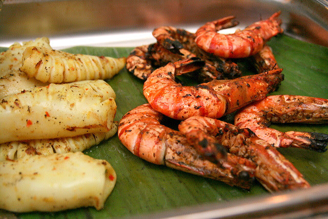 Grilled squid and prawns