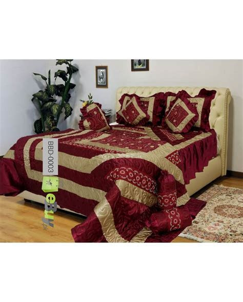 Buy Maroon Color Bridal Bed Sheets Online in Pakistan