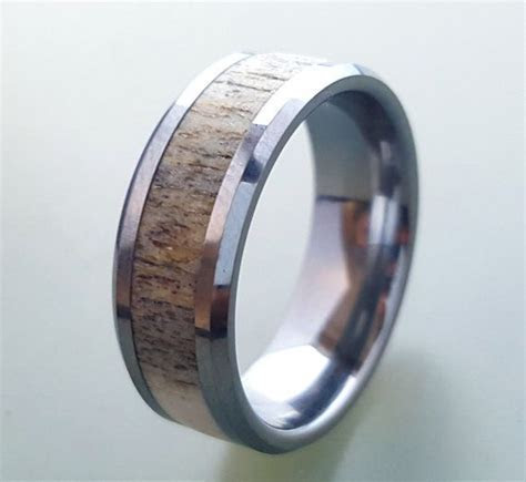 Tungsten Wedding Ring,Deer Antler Ring, Tungsten Carbide