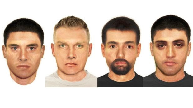 A composite picture of the four men police are wanting to speak with over the sex assault.