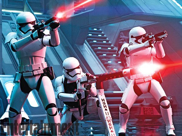 First Order Stormtroopers go on the attack at Starkiller Base in STAR WARS: THE FORCE AWAKENS.