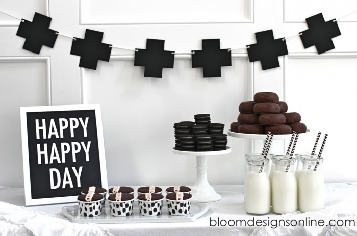Simple Black And White Dessert Table Bloom Designs