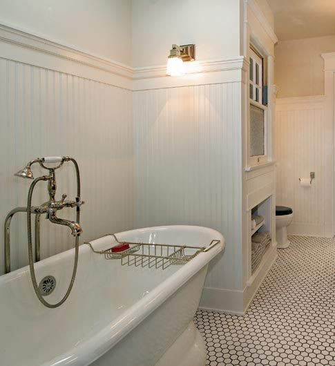 classic white bungalow bathroom!  I want the tile in matte white with dark grey or black grout to make it look like this!