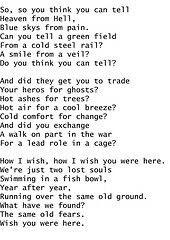 Do You Think You Can Tell Pink Floyd Lyrics