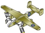 Mitchell B-25B 3 Propeller 3 Engine Airplane Whirligig Project Plan - fee plans from WoodworkersWorkshop® Online Store - airplanes,whirligigs,full sized patterns,woodworking plans,woodworkers projects,blueprints,drawings,blueprints,how-to-build,MeiselWoodHobby