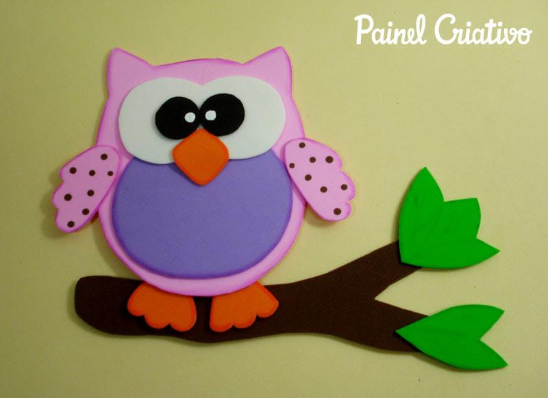 como fazer corujinha em eva artesanato decorar sala de aula cartazes paineis escola quarto festa aniversario infantil (2)
