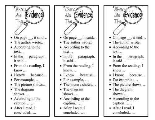 Bookmark for Citing Text Evidence by hstribling  Teaching Resources  Tes