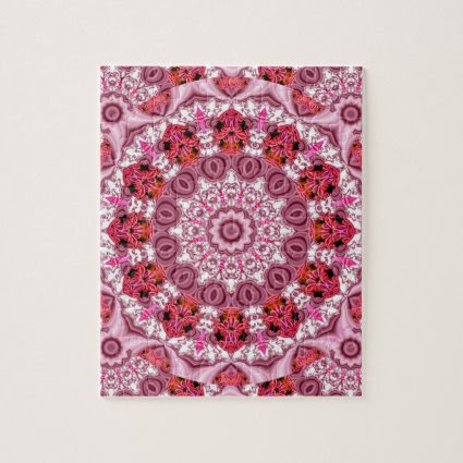 Basket of Lace, Abstract Red, Pink, White Mandala Puzzle