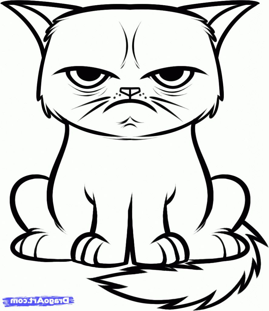 Easy Cat Coloring Pages at GetColorings.com   Free ...