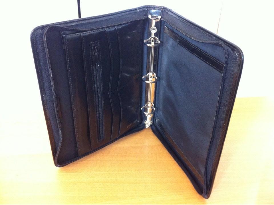 Black Leather Zippered Portfolio 3 Ring Binder Day by dream60