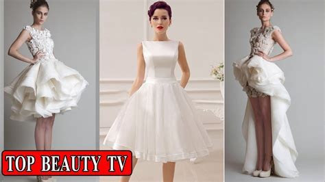 Short white wedding dresses , short bridal dresses for