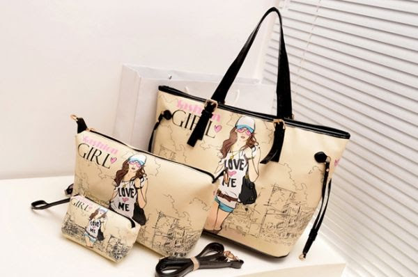 Kit bolsas cartoon girl. Aqui