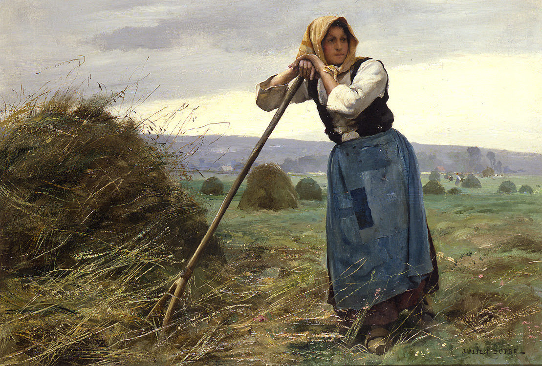 A Moments Rest by Julien Dupré - 15 x 22 inches Signed French realist French academic paris salon exhibitor 19th century realism haymaker wheat field gleaners farm workers peasants working bucolic scenes