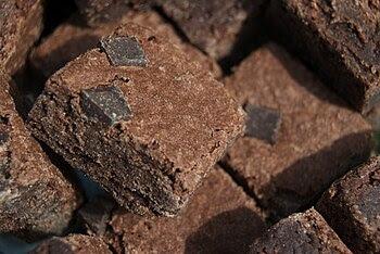 Brownies with chocolate chunks.