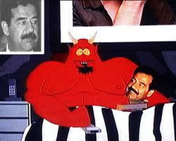 Saddam Hussein spoons with Satan in one TV episode of SOUTH PARK.