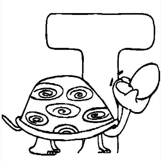 Colorear La Letra T De Tortuga Colorear Dibujos De Letras Dibujo