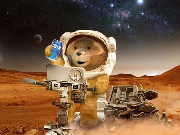 TED wants to become the first teddy bear to toss an empty beer can on Mars.