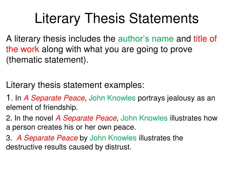 how to write a literary thesis statement