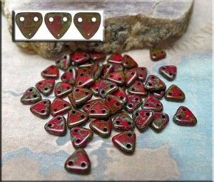 CzechMates Triangle Beads, Opaque Red Picasso (50)
