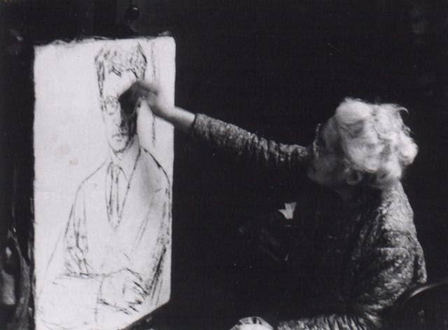 W swojej pracowni przy ulicy rue Pascal 40 w Paryżu, malująca portret dr Bolesława Nawrockiego, 1965