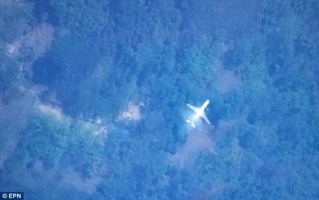 The satellite image from Tomnod, the online map site used by millions of netizens in the search for the missing Malaysia Airlines flight MH370, shows a passenger plane over a jungle