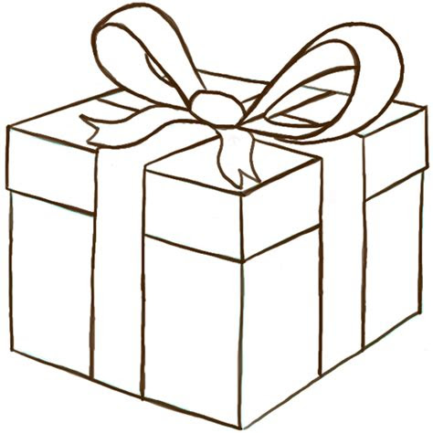 draw  wrapped gift  present  ribbon  bow