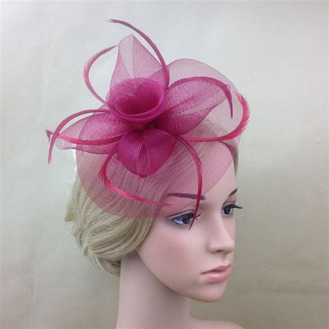 2016 Women Navy/Pink/Red Feather Mesh Flower Hair Clip